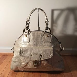 COACH Light Gold Leather Dome Tote Gallery